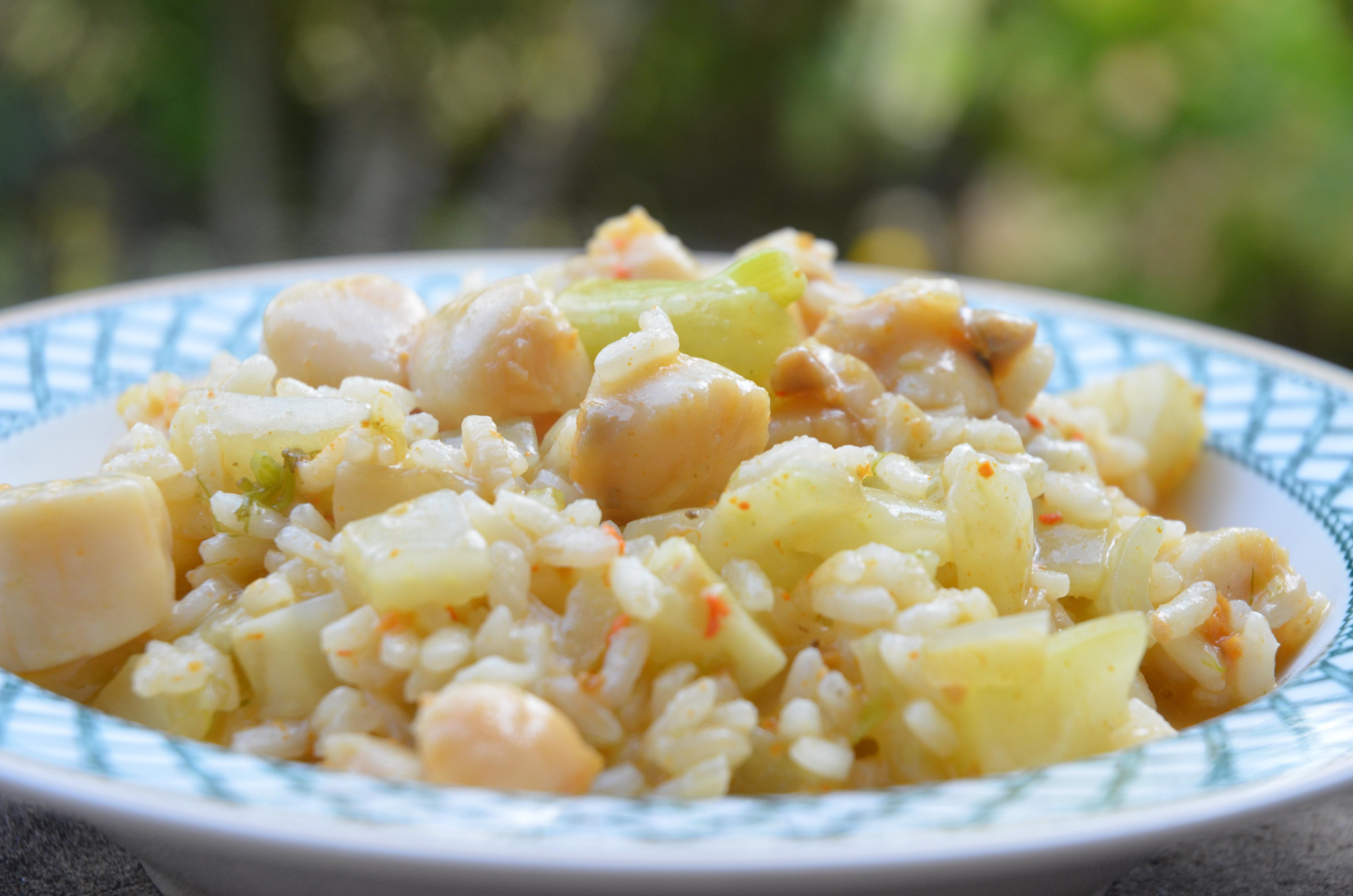 risotto aux pétoncles et au fenouil
